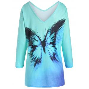 Plus Size Ombre Butterfly Print Tee