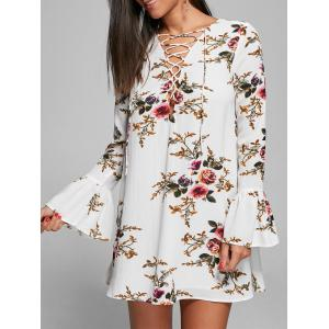 Bell Sleeve Floral Lace Up Mini Dress - White - M