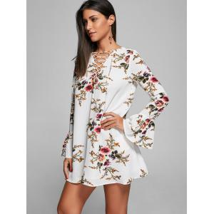 Bell Sleeve Floral Lace Up Mini Dress - WHITE 2XL