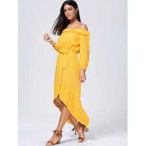 Long Sleeve High Low Off Shoulder Dress - YELLOW XL