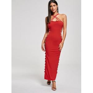 Backless Criss Cross Cut Out Maxi Club Dress - RED S