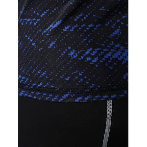 Camouflage Quick Dry Openwork Panel Gym T-shirt - BLUE 2XL