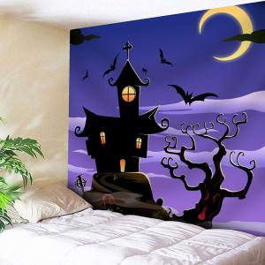 Waterproof Halloween Night Town with Batwing Wall Tapestry - Light Purple - W79 Inch * L71 Inch