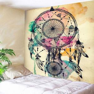 Dreamcathcer Print Waterproof Wall Art Tapestry - Light Yellow - W79 Inch * L79 Inch
