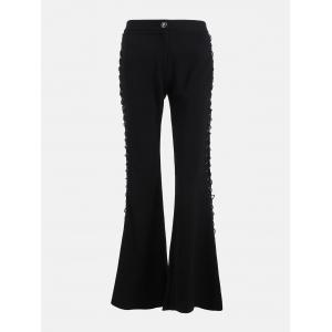 Criss Cross Lace Up Side Flare Pants - Noir M