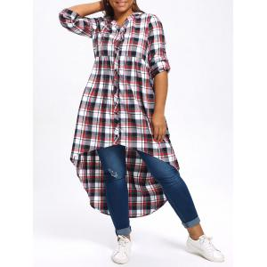 High Low Plus Size Plaid Shirt - Colormix - 4xl