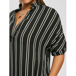Robe Chemise Rayée Haute-Basse à Poches Grande Taille -