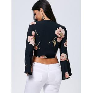Front Knot Floral Flare Sleeve Blouse -