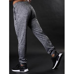 Zipper Pockets Drawstring Beam Feet Stretchy Gym Pants -