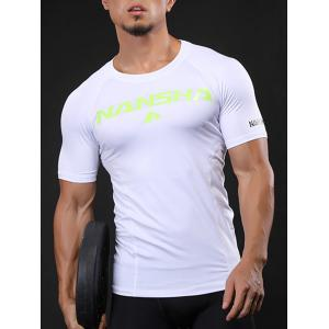 Fitted Crew Neck Stretchy Raglan Sleeve Gym T-shirt -