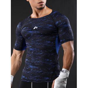 Camouflage Raglan Sleeve Quick Dry Stretchy Gym T-shirt -