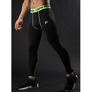Graphic Elastic Waist Quick Dry Suture Stretchy Gym Pants -
