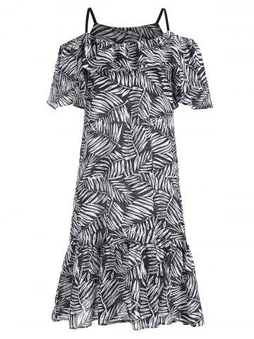 Plus Size Leaf Print Cold Shoulder Dress - Black - 5xl