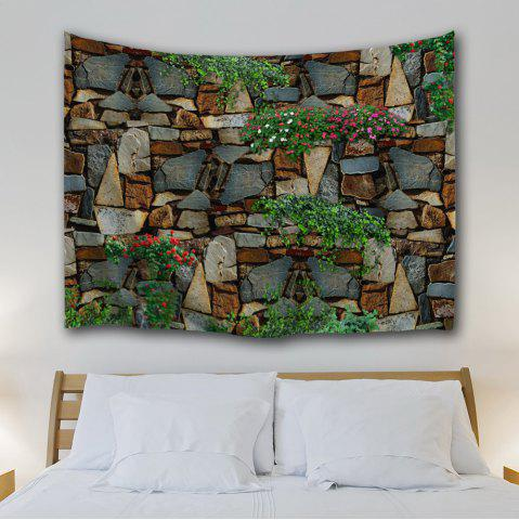 Sale Floral Stone Wall Print Home Decor Tapestry - W59 INCH * L79 INCH COLORMIX Mobile