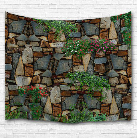 Chic Floral Stone Wall Print Home Decor Tapestry - W59 INCH * L79 INCH COLORMIX Mobile