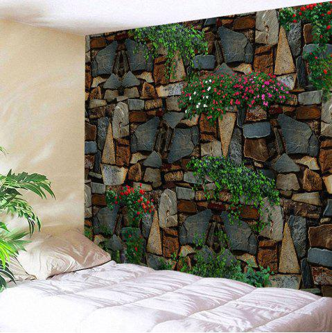 Floral Stone Wall Print Home Decor Tapestry - Colormix - W59 Inch * L79 Inch