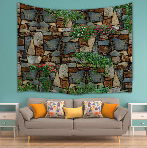 Cheap Floral Stone Wall Print Home Decor Tapestry - W59 INCH * L79 INCH COLORMIX Mobile