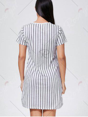 Hot Striped Print Pocket Pajama Dress - L GRAY Mobile