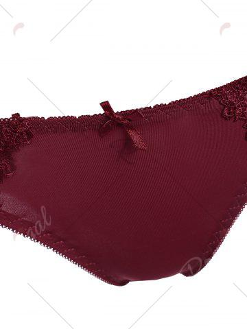 Affordable Underwire Embroidered Sheer Bra Set - 80B WINE RED Mobile