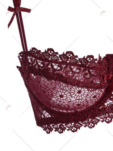 Online Underwire Embroidered Sheer Bra Set - 80B WINE RED Mobile