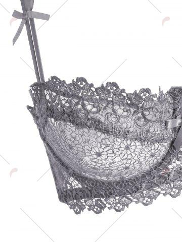 Latest Underwire Embroidered Sheer Bra Set - 80B GRAY Mobile