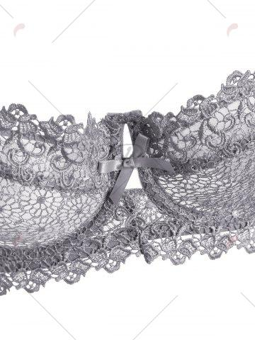 Outfits Underwire Embroidered Sheer Bra Set - 80B GRAY Mobile