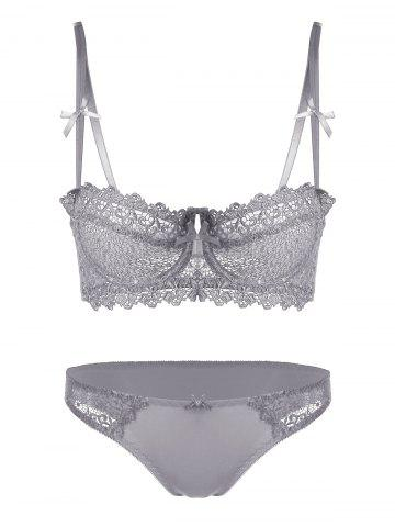 Underwire Embroidered Sheer Bra Set - Gray - 70a