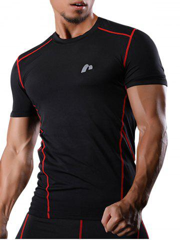 Suture à manches courtes Quick Dry Stretchy Gym T-shirt Rouge M