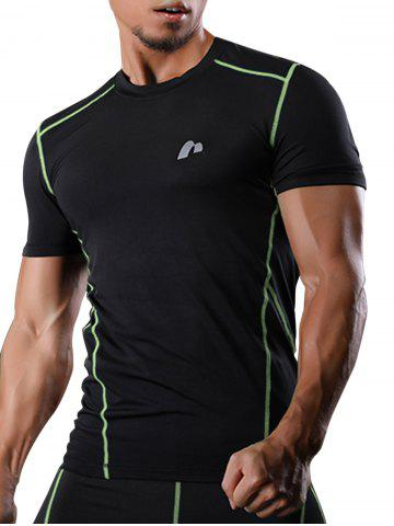 New Short Sleeve Suture Quick Dry Stretchy Gym T-shirt - 2XL GREEN Mobile