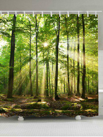 Sunlight Forest Tree Waterproof Fabric Shower Curtain