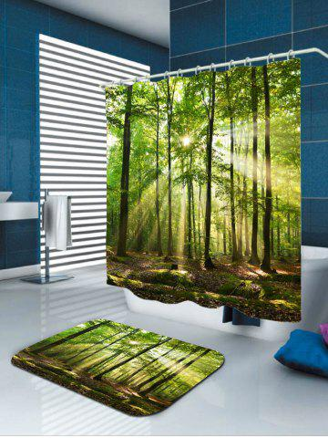 Sale Sunlight Forest Tree Waterproof Fabric Shower Curtain - W71 INCH * L79 INCH GREEN Mobile