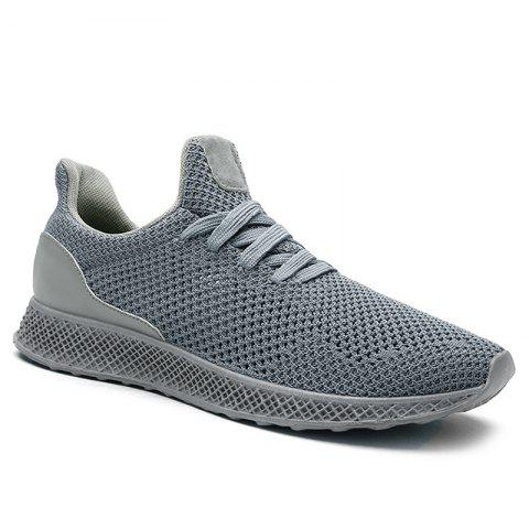Fashion Lace Up Mesh Breathable Athletic Shoes GRAY 43