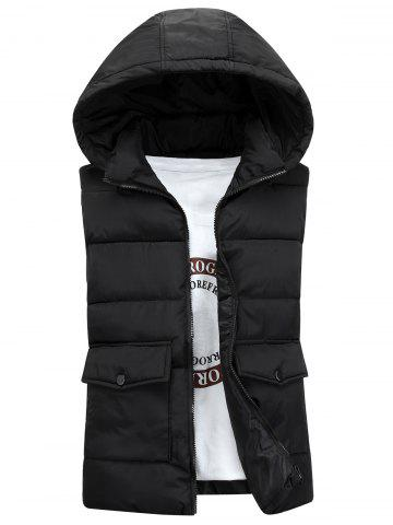 Outfit Detachable Hooded Pockets Padded Waistcoat - 3XL BLACK Mobile