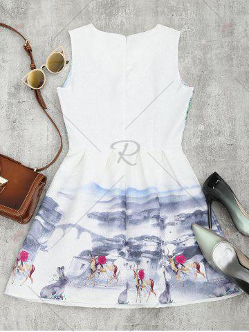 Discount Printed Fit and Flare Mini Dress - XL WHITE Mobile