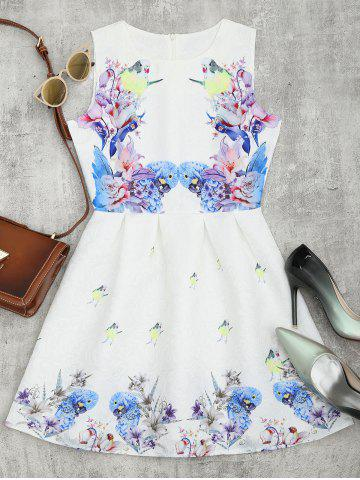 Cheap Bird Floral Fit and Flare Mini Dress - M WHITE Mobile