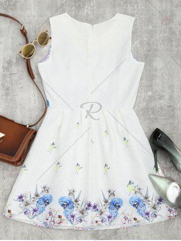 Sale Bird Floral Fit and Flare Mini Dress - M WHITE Mobile