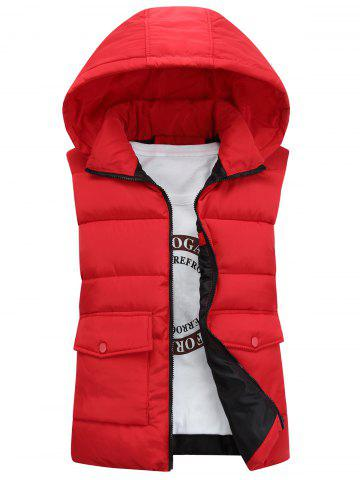Detachable Hooded Pockets Padded Waistcoat - Red - M