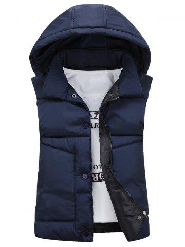 Discount Snap Button Detachable Hooded Padded Waistcoat