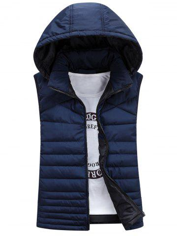 Latest Zip Up Detachable Hooded Padded Waistcoat - M CADETBLUE Mobile