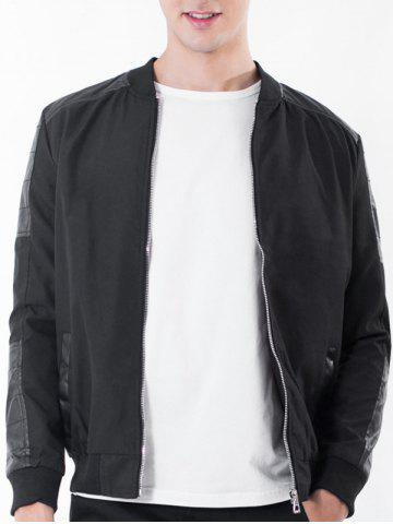 Rib Stand Collar Zip Up PU Leather Panel Jacket - Black - 4xl