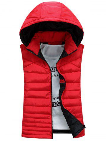 Zip Up Waistcoat rembourré à capuche détachable Rouge 2XL