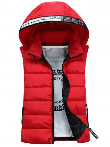 Cheap Graphic Embellished Detachable Hooded Padded Waistcoat - S RED Mobile