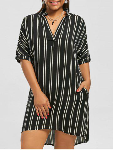 Casual Knee Length Plus Size Pockets High Low Stripe Shirt Dress - Black - 5xl