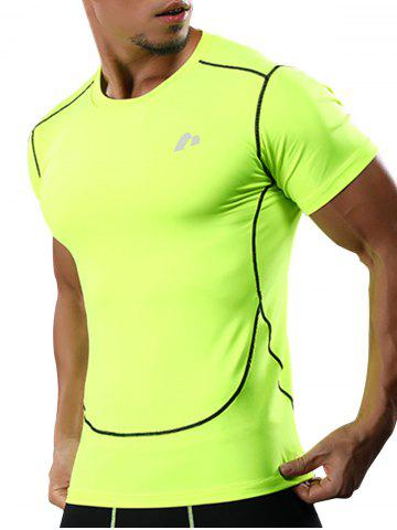 Buy Suture Short Sleeve Quick Dry Stretchy Gym T-shirt - 2XL NEON GREEN Mobile