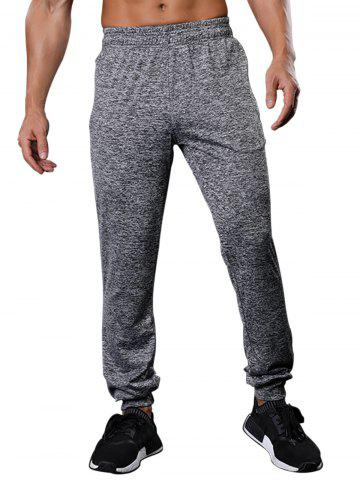 Zipper Pockets Drawstring Beam Feet Stretchy Gym Pants - Gray - M