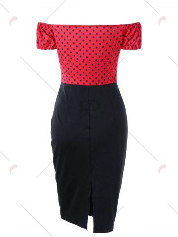 Shops Polka Dot Off Shoulder Tight Fitted Sheath Dress - M RED Mobile