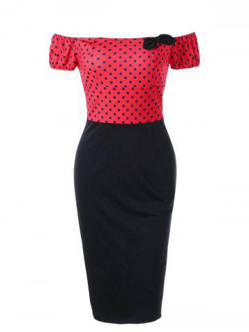 Best Polka Dot Off Shoulder Tight Fitted Sheath Dress - M RED Mobile