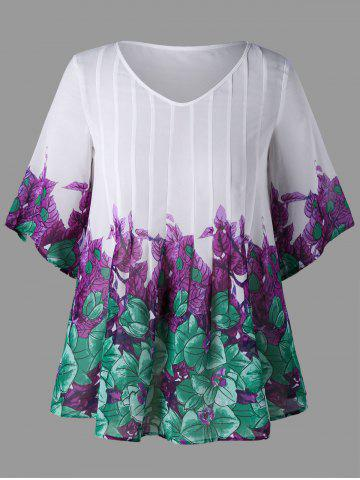 Plus Size Leaf Print Pintuck Blouse - White - 5xl