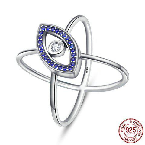 Hot Sterling Silver Rhinestone Devil Eye Ring - 7 BLUE Mobile