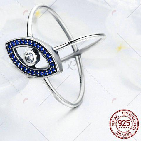 Online Sterling Silver Rhinestone Devil Eye Ring - 7 BLUE Mobile